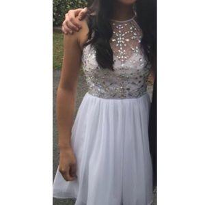 White jeweled prom dress